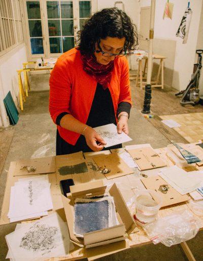 Leena Nammari in the studio